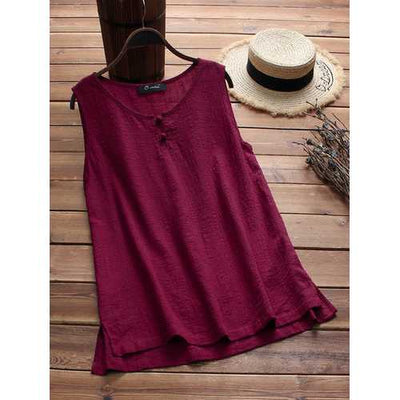 Plus Size Women Vintage Sleeveless Cotton Tops Blouse