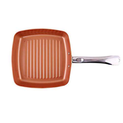 Copper Chef Square Frying Pan Aluminum Alloy Striped Frying pan Food Grade Physical Nonstick Non-smoking Firm Handle