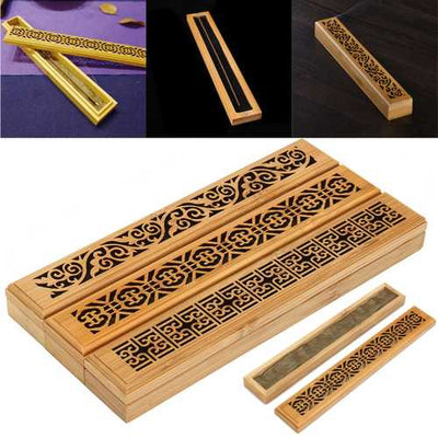 Bamboo Incense Burner Box Drawer Magnet Incense Lore Hollow Carving Cover Burner Censer Holder