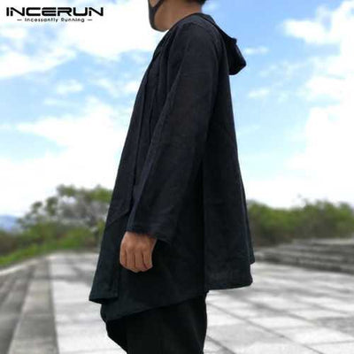INCERUN Casual Loose Solid Color Hooded Cloak Autumn Coats