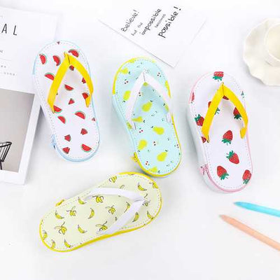 Cute Fruit Flip-flops Creative Slippers Pencil Bag School Office Stationery Supplies Pencil Case