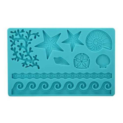 Silicone Adorable Coral Starfish Shell Ocean Embossing Cake Mold Mould Kitchen Tool