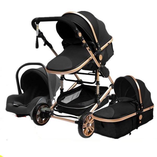 Luxurious Baby Stroller 3 in 1 Portable Travel Baby Carriage Folding Prams