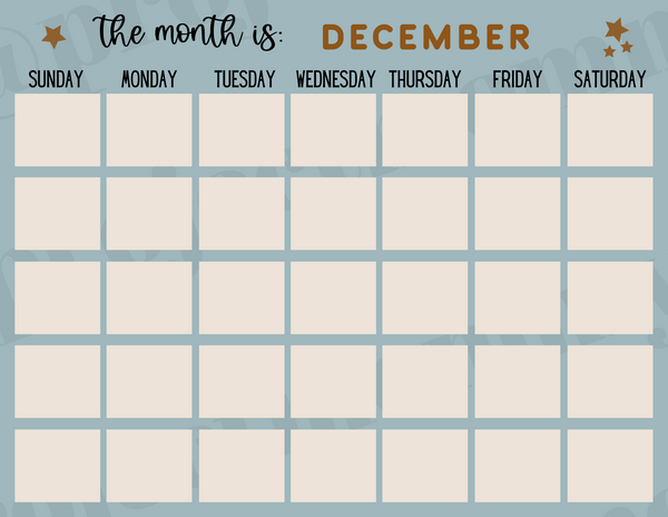Blue Monthly Calendar