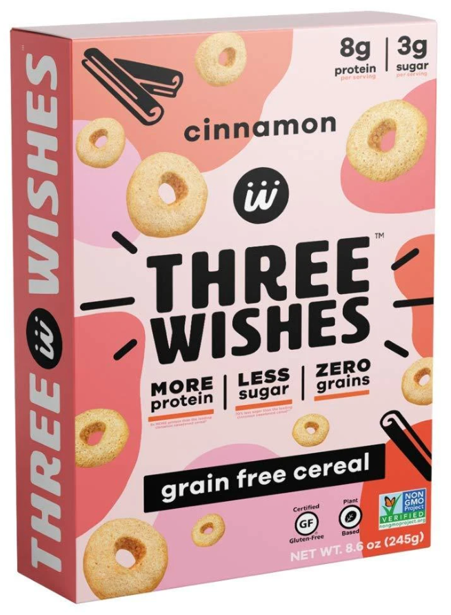 Three Wishes, Grain-free Cereal, Cinnamon, 8.6 oz
