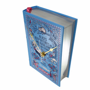 Alice's Adventures In Wonderland Book Clock - Baby Blue Leather