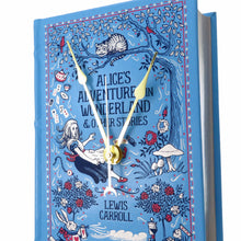 Load image into Gallery viewer, Alice's Adventures In Wonderland Book Clock - Baby Blue Leather