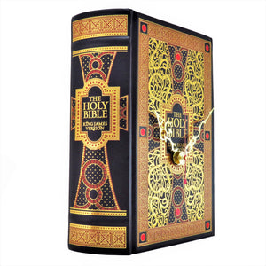 The Bible Leather Bound Book Clock