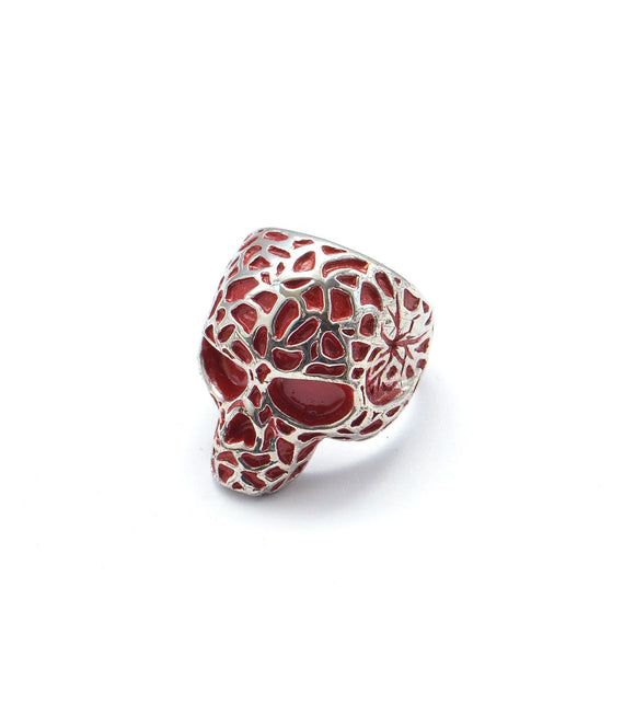 Leopard Print Skull Ring - Silver/Red