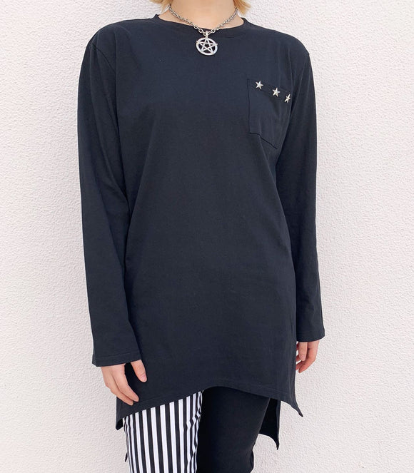 Star Studs Long Sleeve T-Shirt - Black