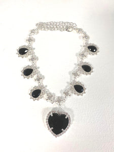 Crystal Heart Necklace - Silver x Black