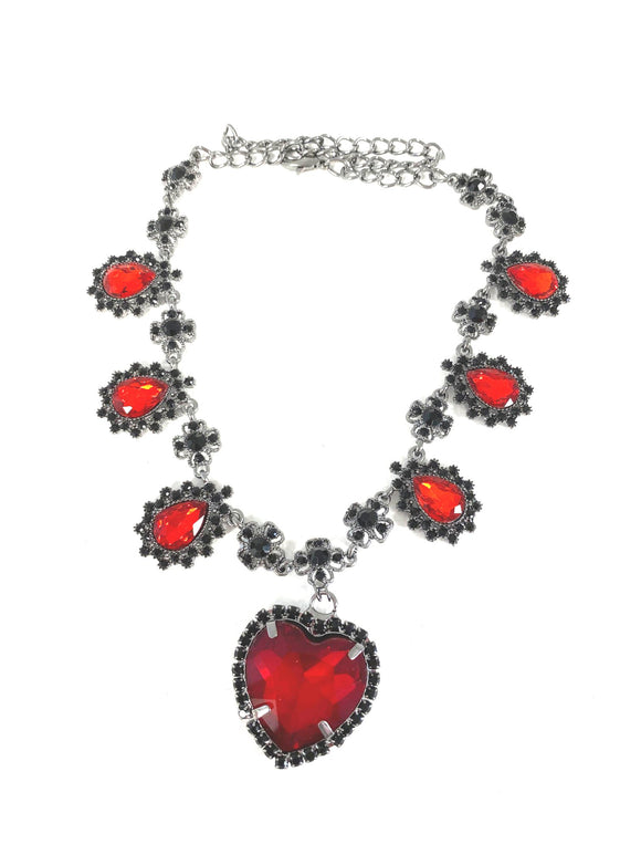 Crystal Heart Necklace - Gunmetal x Red