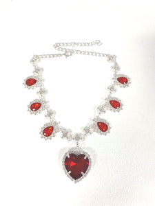 Crystal Heart Necklace - Silver x Red