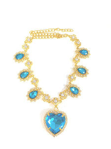 Crystal Heart Necklace - Gold x L. Blue