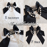 Logo Embroidery Pearl Ribbon Brooch - Black x White