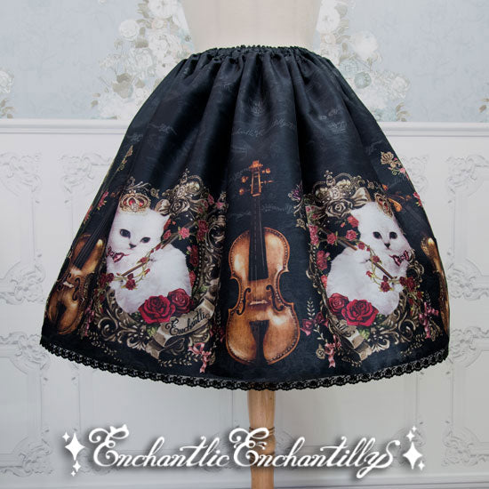 Music of the Princess Cat Skirt - Black x Red Rose