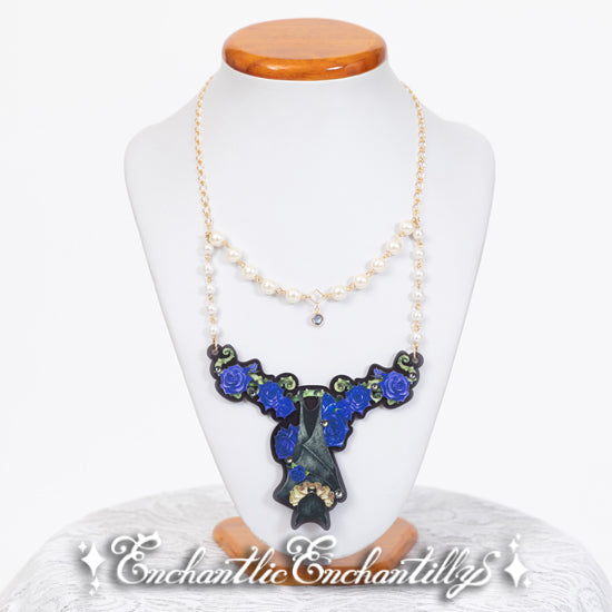 Bat Rose Necklace - Blue