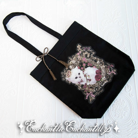 Cat Princess Music Concert Violin Tote Bag - Black x Red Rose