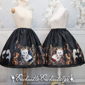 Cat Princess Concert Violin Skirt - Black x Blue Rose