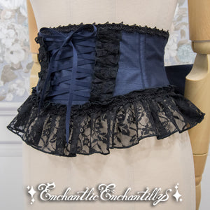 Rose Lace Ribbon Corset - Navy x Black