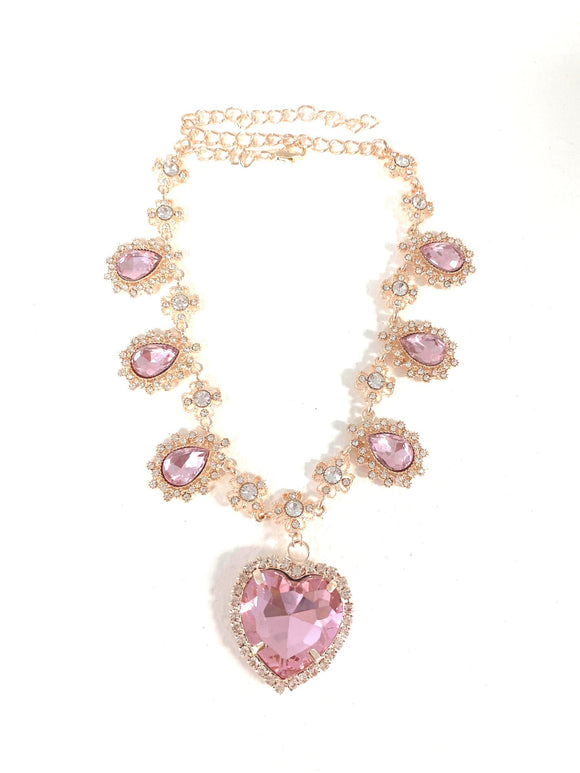 Crystal Heart Necklace - R. Gold x Pink