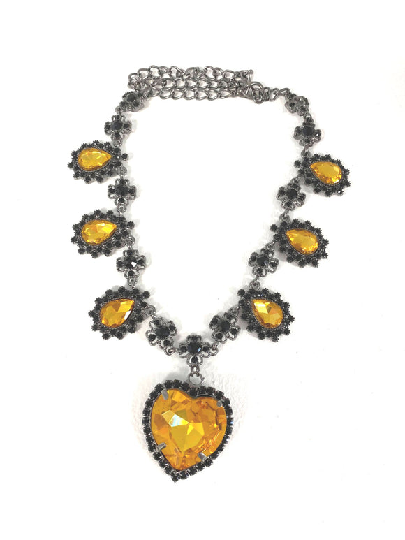 Crystal Heart Necklace - Gunmetal x Yellow