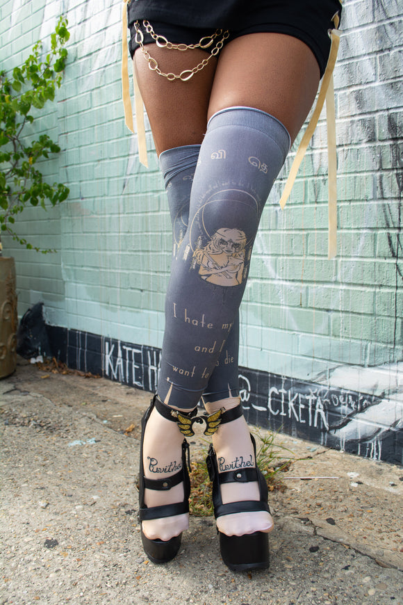 Anxiety Angel Thigh Highs - Gold x Black