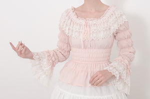 Georgette and Lace Blouse - Pink