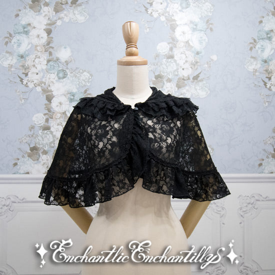 Rose Lace Cape - Black