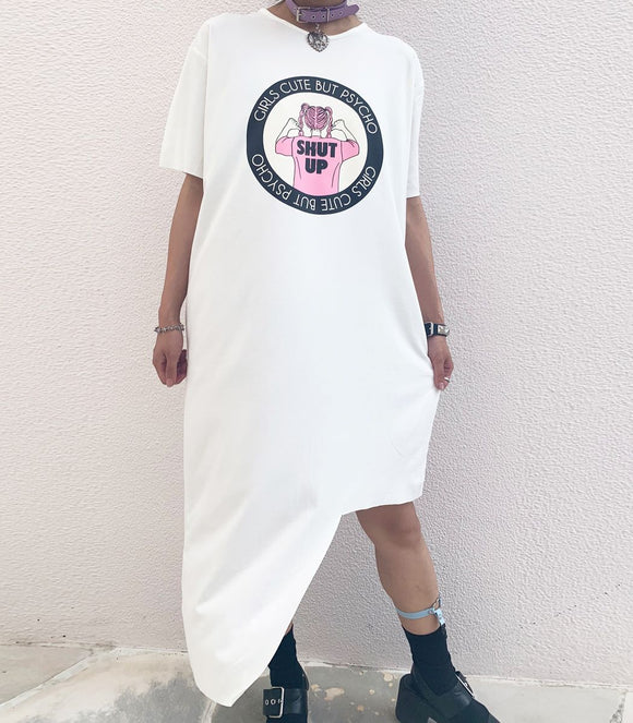 Girls Cute But Psycho T-Shirt Dress - White