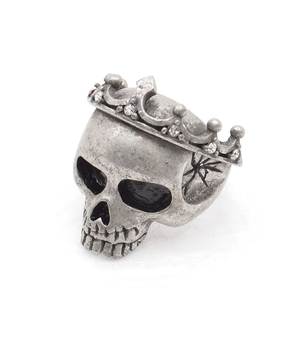Crown Skull Ring - Silver