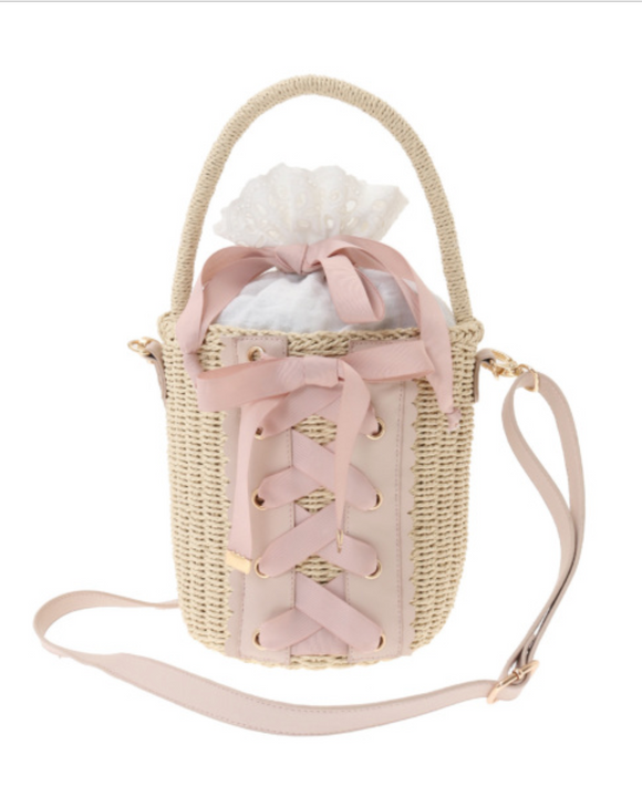 Lace-Up Basket Bag - Pink