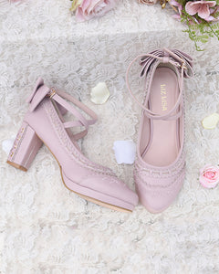 Cross Strap Ribbon Pumps - Pink M