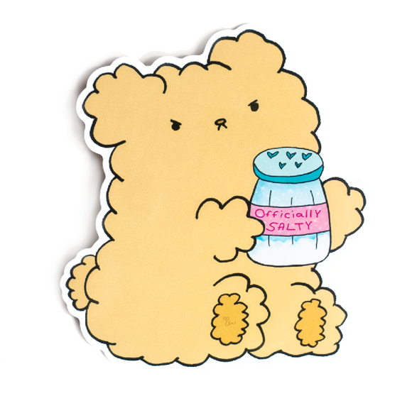 Officially Salty Teddy Bear Vinyl Sticker