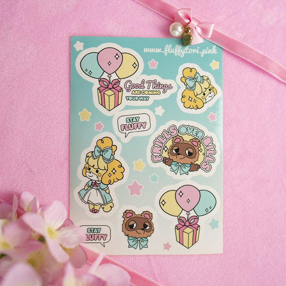Fluffy Crossing Sticker Sheet