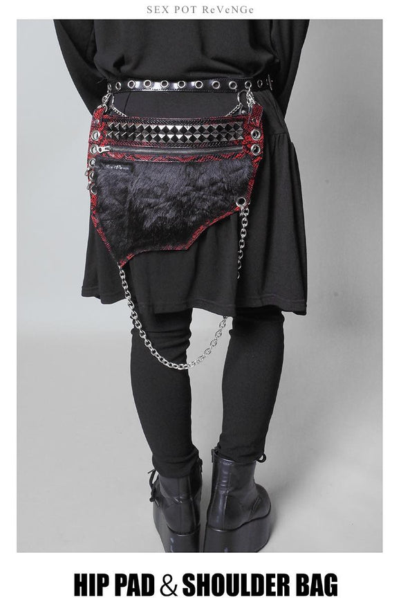 Hip Pad & Shoulder Bag - Black x Red