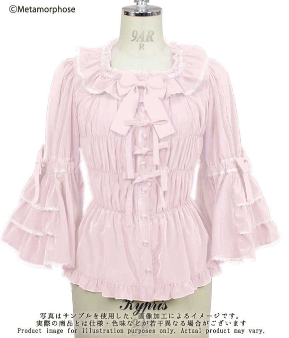 [PREORDER END 7p CST 02/28] Princess Sleeve Square Neck Frill Blouse - Pink Crepe de Chine