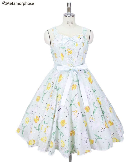 Kitten and Tulip Circular Dress - Mint