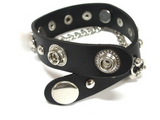Leather Studded Cross Bracelet