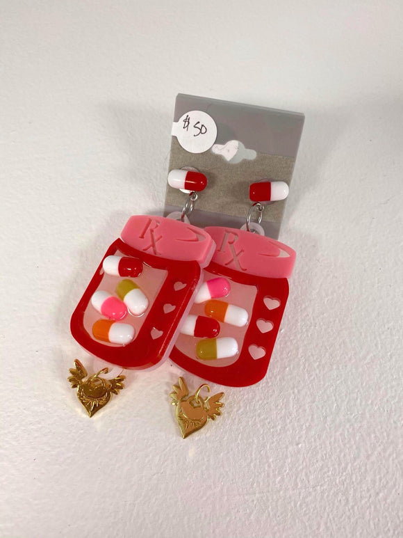 Rx Pill Bottle Earrings - Red x Pink