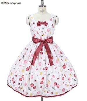 Floating Heart Cherry Ribbon Dress - Ivory