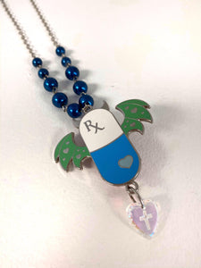Let Me Down Pill Necklace - Blue
