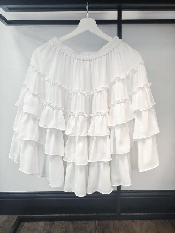 Josette Skirt - White Tiered