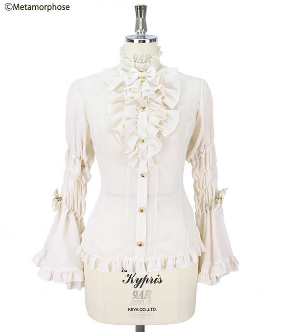 Princess Sleeve Blouse with Jabot (Crepe Weave) - Off White