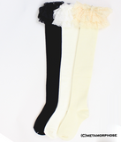 Raschel Lace Over the Knee Socks - Off White