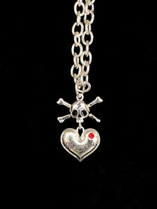 Hell Cat Heart Necklace - Silver/Red