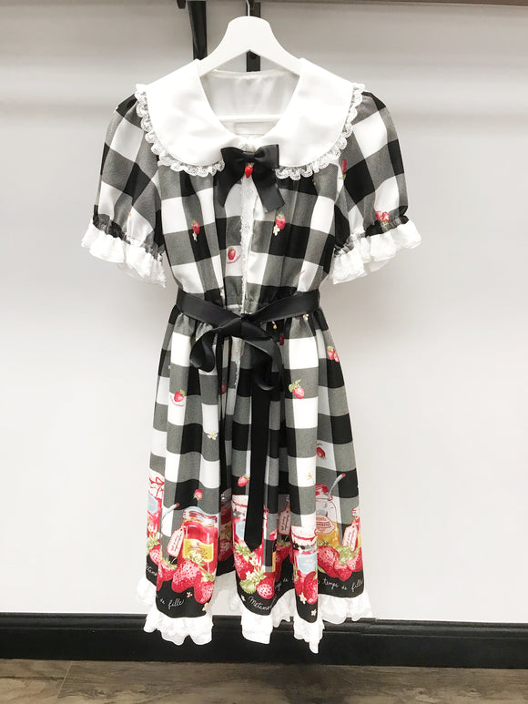 Sweet Berry Gingham OP - Black