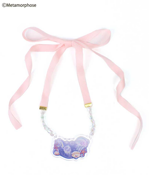 Rondo of Jellyfish Ribbon Necklace - Pink