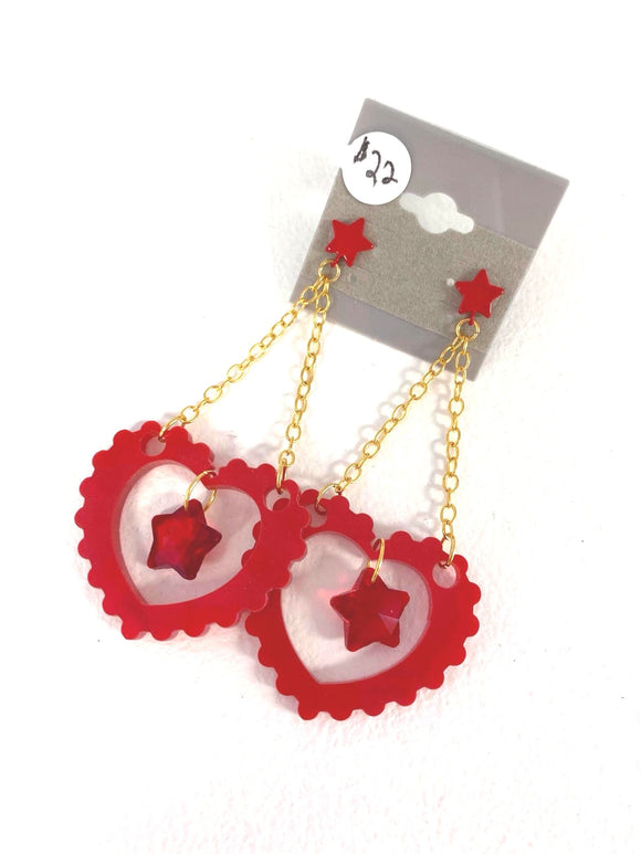 Pop Star Earrings - Red