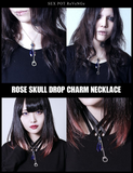 Rose Skull Drop Charm Necklace